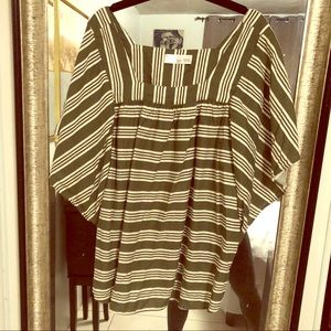 Green Striped Cotton Batwing Blouse Top